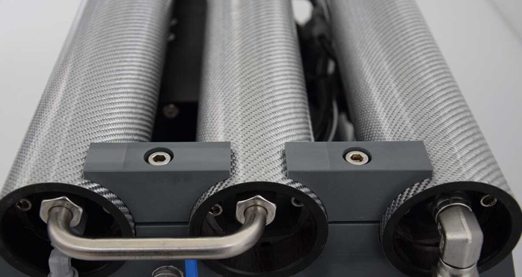 The reverse osmosis membranes of a Schenker watermaker.